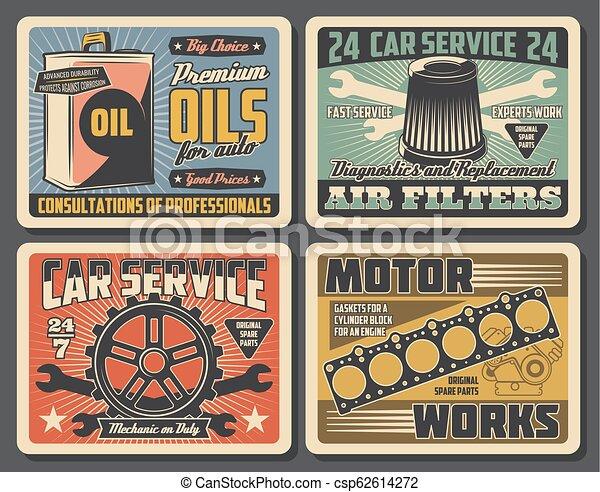 Partes de repuesto del servicio de coches. Aceite de motor, equipo, filtro - csp62614272
