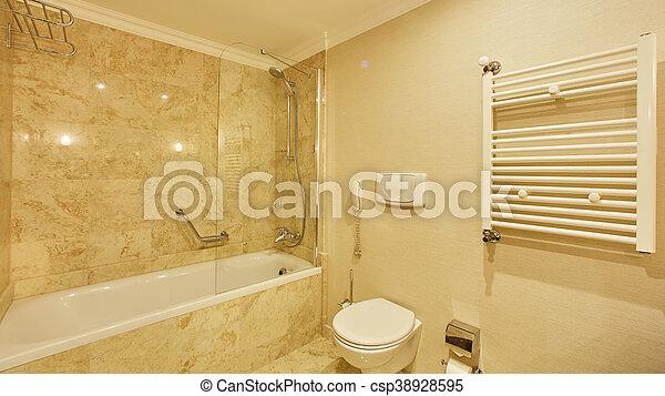 Servicio, cuarto de baño, espejos, ducha, lujo, fregadero ...
