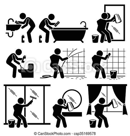 servicio, cuarto de baño, hombre, ventana que limpia