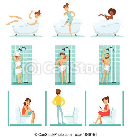 Gente en el baño haciendo sus procedimientos de higiene rutina, tomando baños, duchando y usando baño - csp41849151