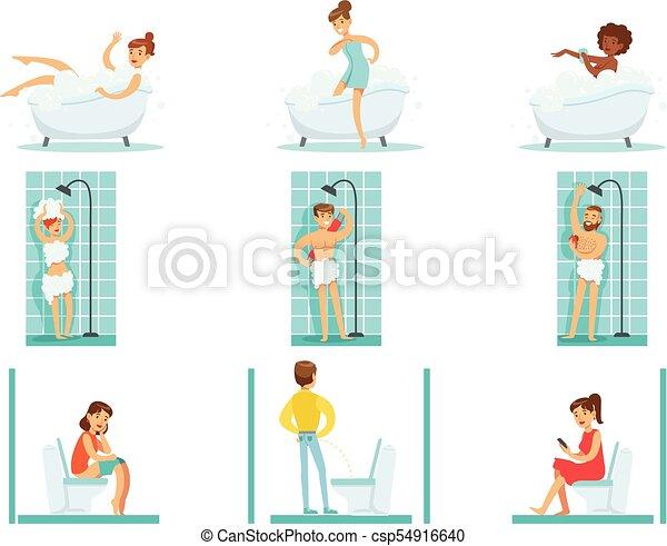 Gente en el baño haciendo sus procedimientos de higiene rutina, tomando baños, duchando y usando baño - csp54916640