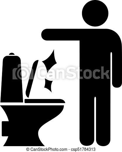 Un hombre tirado en el cartel del baño - csp51784313