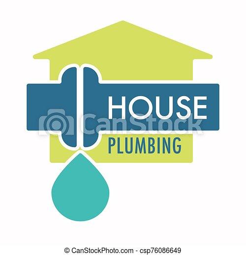 servicio, instalación de cañerías, gota, escape, casa, logotipo, tubo, agua - csp76086649