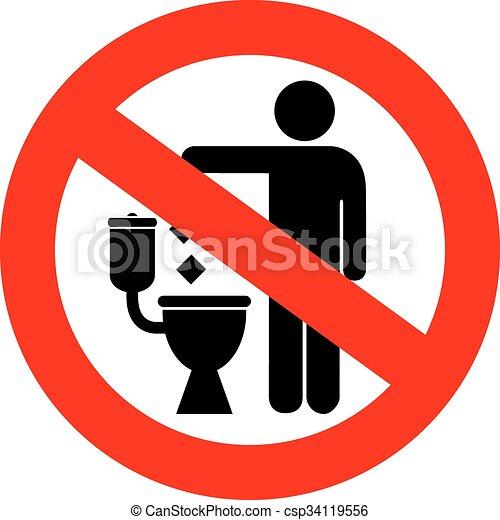 Nada de tirar basura en el letrero del baño - csp34119556