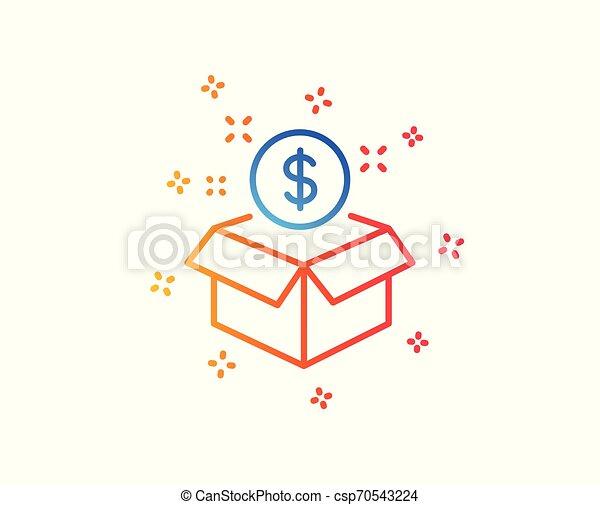 El ícono del paquete postal. Señal de servicio pagada. Vector - csp70543224
