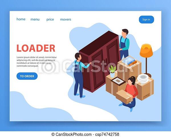 servicio, recolocación, diseño, página - csp74742758