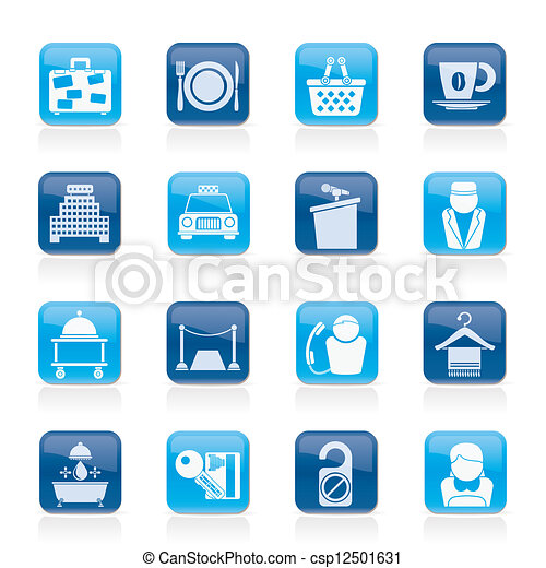 Los íconos de hotel y motel - csp12501631