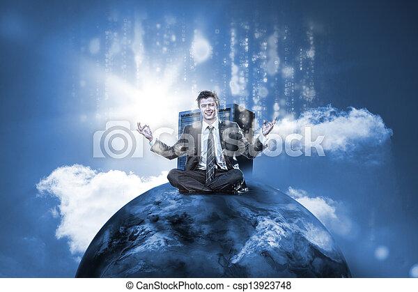 Hombre de negocios sentado en la cima del mundo con servidor de datos - csp13923748
