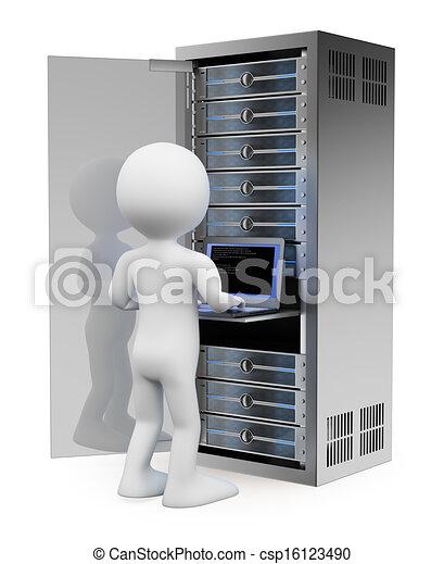 3D blancos. Ingeniero en la sala de servidores de la red - csp16123490