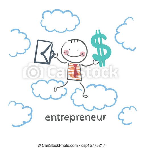 serviette, argent, ciel, entrepreneur, par, va - csp15775217