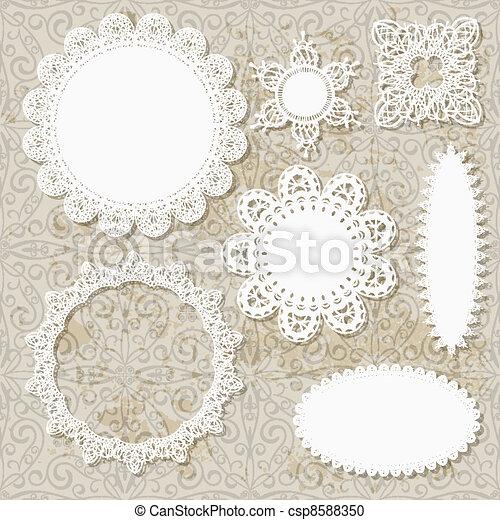 serviette, seamless, motifs, vecteur, conception, fond, dentelle, grungy, album - csp8588350