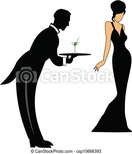 servindo, bebidas, garçom - csp10666393