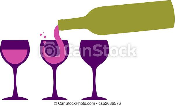 servindo, garrafa, wineglasses, vinho - csp2636576
