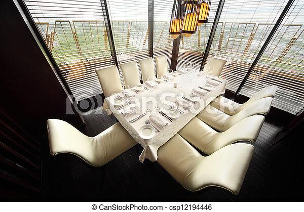 servire, dieci, ristorante, sedie, luminoso, tavola, bianco, tovaglia, vuoto - csp12194446