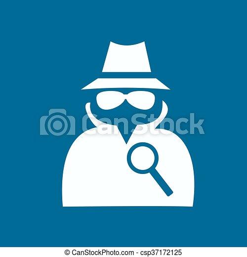 servizio, agente segreto, suit., icona, uomo - csp37172125