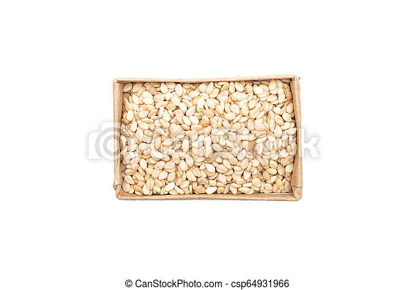 Sesame in small carton on white background - csp64931966