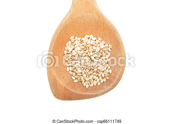 Sesame on wooden spoon and white background - csp66111749