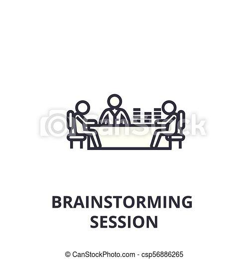 sessione, lineare, segno, simbolo, concetto, vettore, brainstorming, magro, illustation, icona, linea - csp56886265