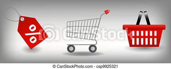 set., ベクトル, 買い物, イラスト, アイコン - csp9925321