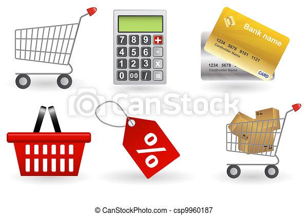 set., ベクトル, 買い物, イラスト, アイコン - csp9960187
