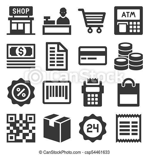 set., ベクトル, 買い物, 金融, アイコン - csp54461633