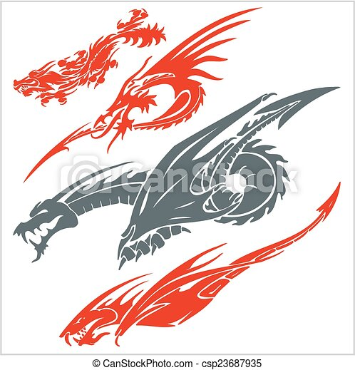 set., ベクトル, tattoo., ドラゴン - csp23687935