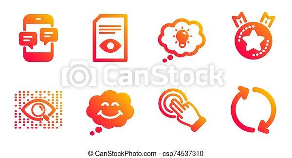 set., 微笑, touchscreen, ベクトル, 星, アイコン, ジェスチャー, ランキング - csp74537310