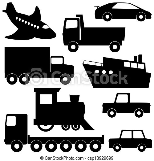 Set 1 of transport silhouettes - csp13929699