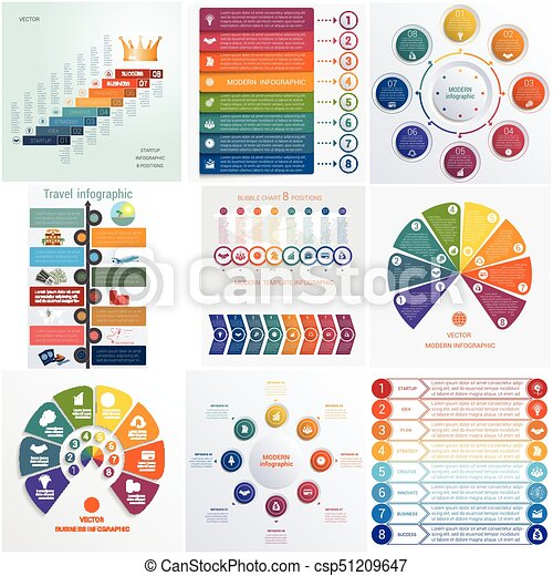 Set 10 universal templates elements Infographics conceptual cyclic processes for 8 positions - csp51209647