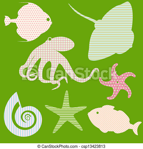 Set 3 of fish silhouettes with simple patterns - csp13423813