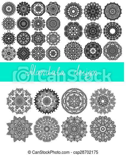 set, 33, ornament, verzameling, afdrukken, cirkel, mandala, ontwerp - csp28702175