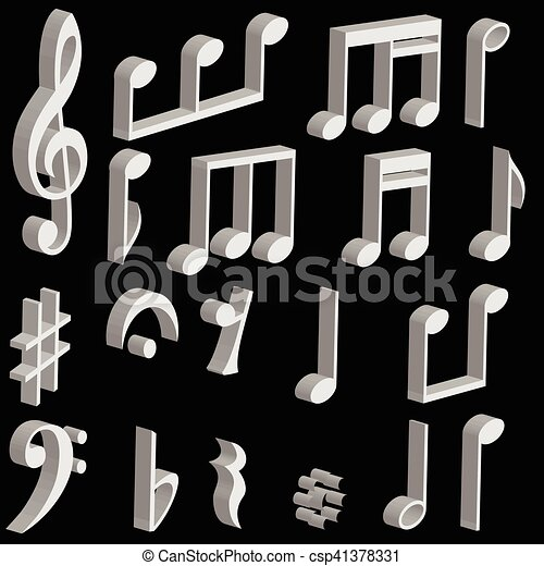 Set 3d Music Notes And Music Symbols Vector