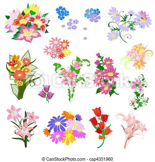 Set A Bouquet Of Flowers Vector
