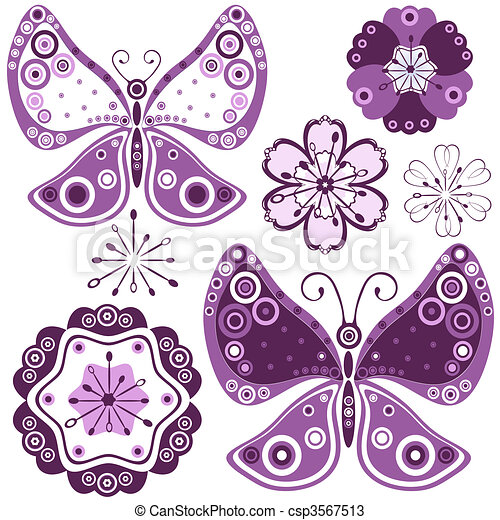 Set abstract flowers and butterflie - csp3567513