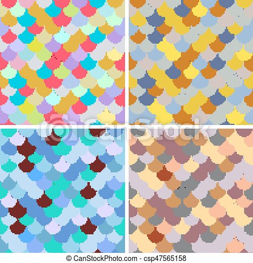 Set Abstract Seamless Patterns Japanese Style Fish Scale Golden Blue White Colors And