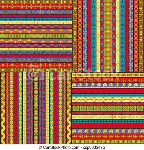 set, achtergronden, gekleurde, ethnische  - csp6833475