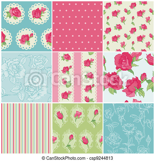 set, -, achtergronden, seamless, vector, roos, floral - csp9244813