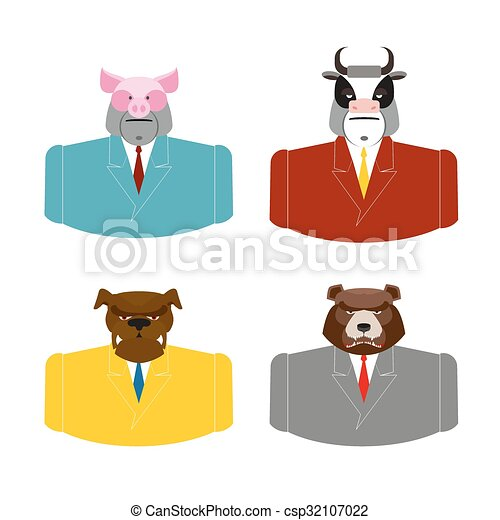 Set Animals businessmen. Farm animals in costume. Pig in business suit. Bull businessman. Bear in Office attire. Dog with tie. - csp32107022
