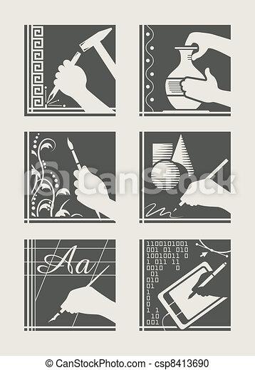 set, arte, occupazione - csp8413690