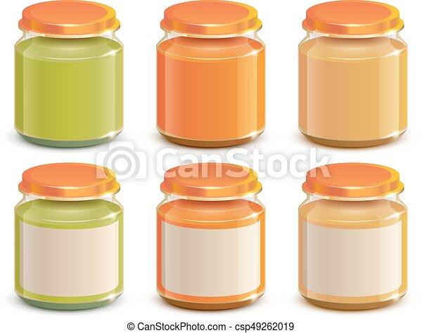 Set Baby food puree jar template mockup design - csp49262019