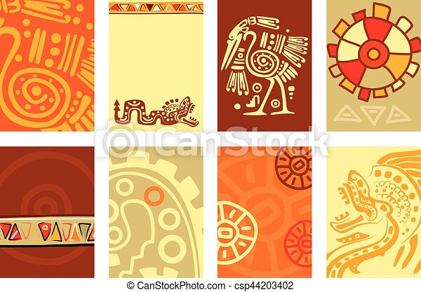 Set banner, background, flyer, placard with American Indian traditional patterns - csp44203402