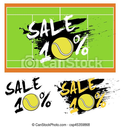 Set banners sale 10 percent with tennis ball - csp45359868