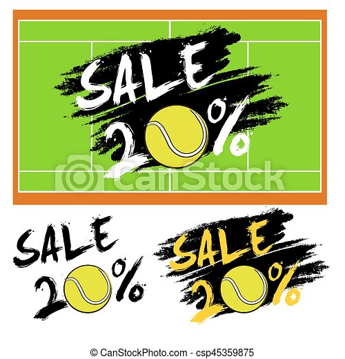 Set banners sale 20 percent with tennis ball - csp45359875