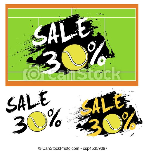 Set banners sale 30 percent with tennis ball - csp45359897