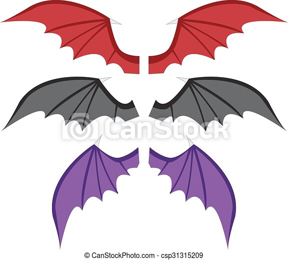 set bat wings in color vector clipart search illustration rh canstockphoto com  free vector batwing