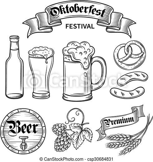 Set Beer Oktoberfest Set Hand Draw Decorarive Beer Oktoberfest