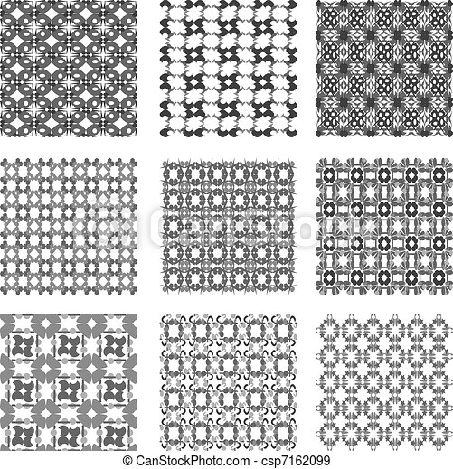 Set Black And White Geometric Patterns Background Set Of Monochrome