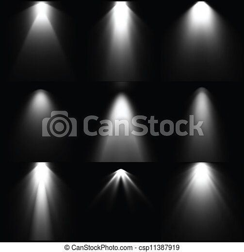 Set black and white light sources. Vector - csp11387919