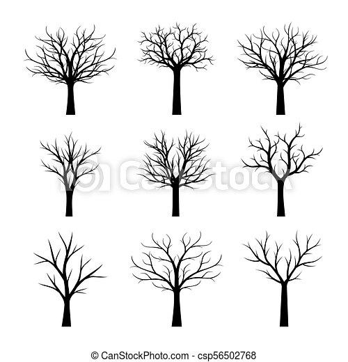 Set Black Naked Trees Without Leaves Vector Illustration