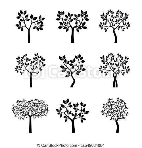 Set Black Trees with Leaves. Vector Illustration. - csp49084084